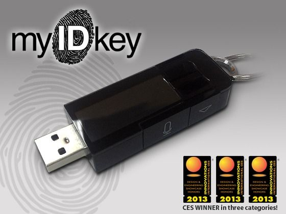 myIDkey: thumb print is your key to unlock personal data (passwords, bank accounts, passports, etc) Simply swipe your thumb or finger across the reader to view passwords and more.