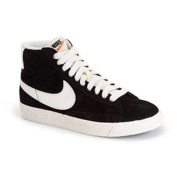 Women's Nike 'Blazer' Vintage High Top Basketball Sneaker ($97) ❤ liked on Polyvore featuring shoes, sneakers, black, trainers, zapatillas, hi tops, vintage sneakers, vintage shoes, high top sneakers and nike high tops