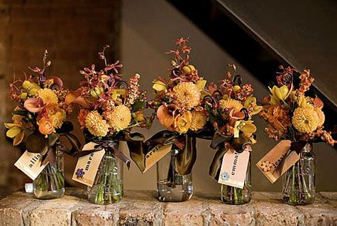 Merriment :: Bouquet mason jars and handmade name tags for Fall ::