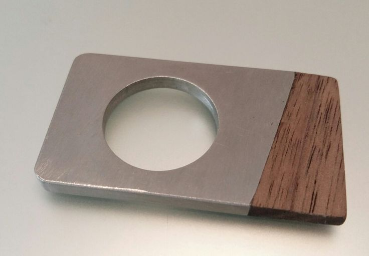 Steel-and-wood statement ring