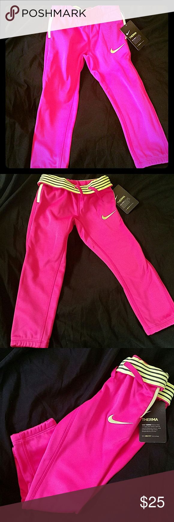 NWT Girls Nike Dri Fit Pants size 4 to 4t-5t pink Hot pink and super cute neon yellow Girls Nike pants size 4t Brand new with tags and never worn Offers considered. Nike Bottoms