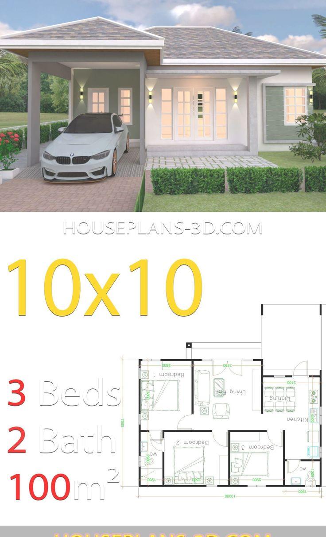 10x10 Bedroom Arrangement: House Design 10x10 With 3 Bedrooms Hip Roof