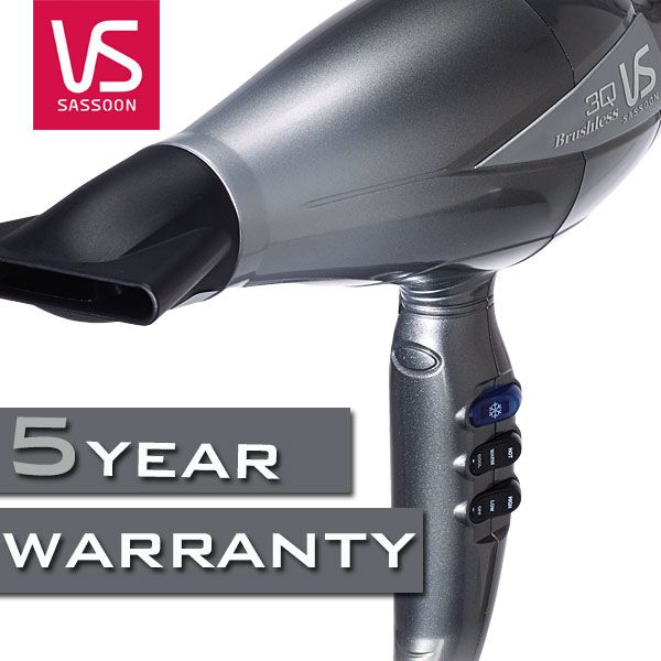 The 3Q High Performance Dryer includes an impressive 5 Year Warranty. http://www.vssassoon.com.au/3Q-hairdryer/