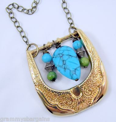 Beaded Western Belt Buckle Necklace Pendant Brass Turquoise Cowgirl Jewelry on eBay www.grammysbargains.com