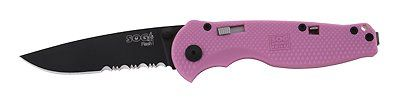 SOG Knives Flash I Pocket Knife with Pink Zytel Handle and Black ComboEdge Blade