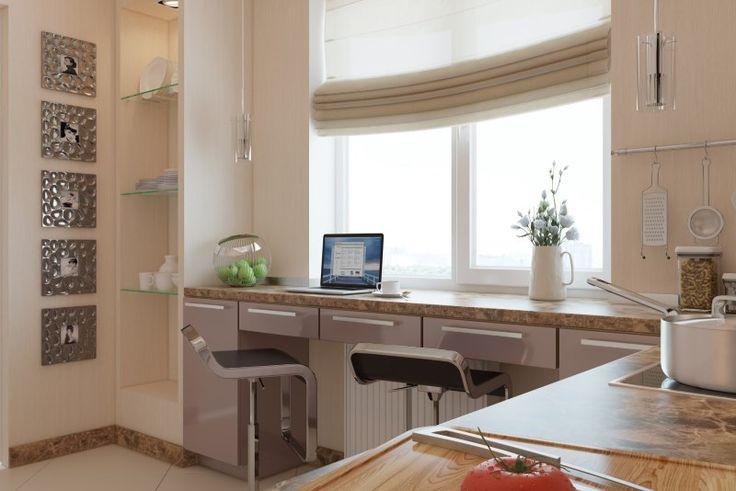 Варианты устройства подоконника в кухне