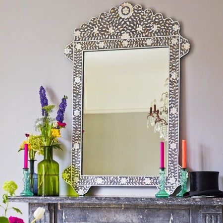 Grey Mother of Pearl Inlay Floral Mirror - Wall Mirrors - Mirrors - Lighting & Mirrors