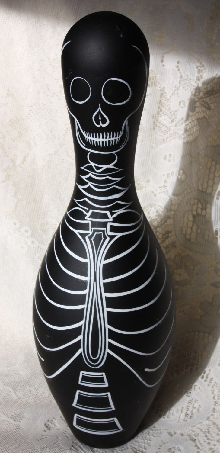 Skeleton pinstriped bowling pin by StParkz on Etsy, $55.00