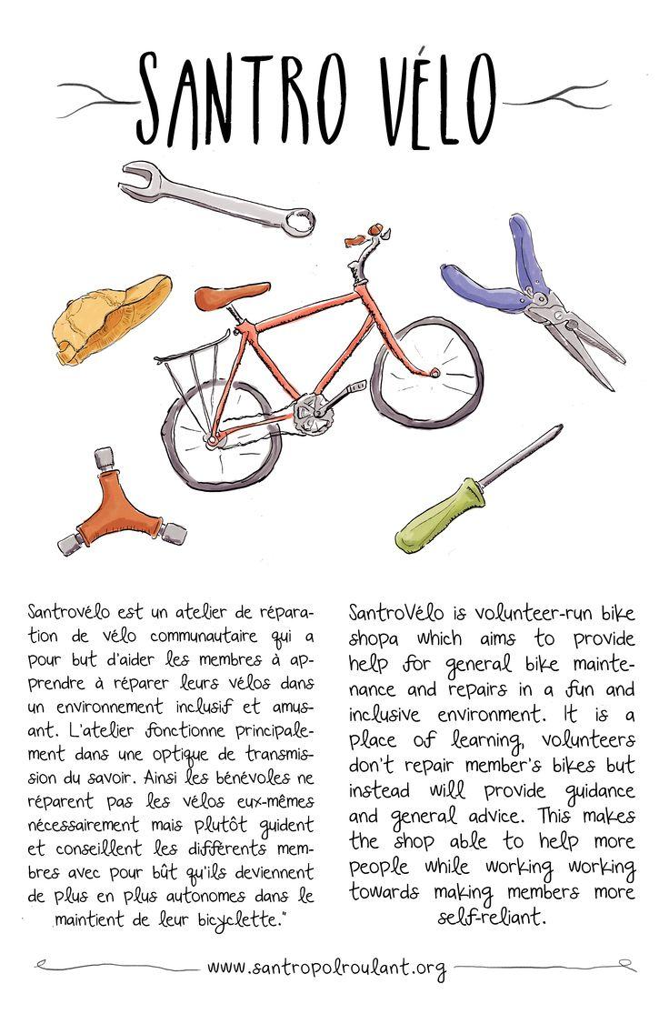 Illustration for Santropol Roulant's community bicycle workshop.