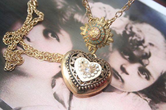 Heart necklace Ex Voto Heart Heart pendant. ooak necklace