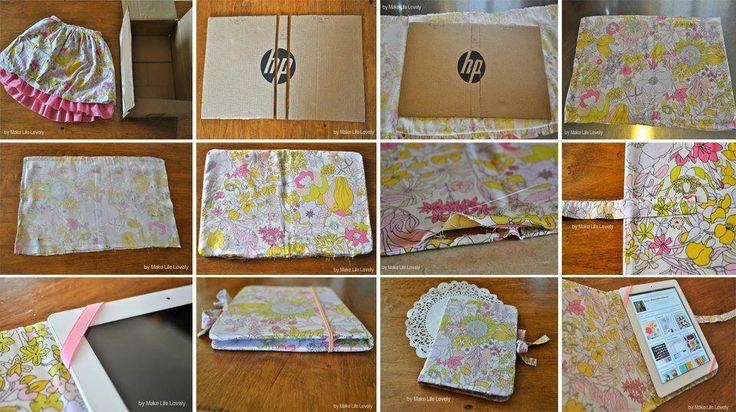Funda para tablet hecha de carton y tela fundas - Colores para reciclar ...