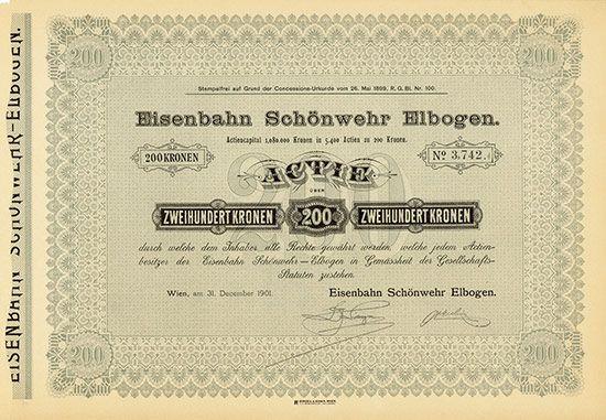 Eisenbahn Schönwehr Elbogen Wien, 31.12.1901, Aktie über 200 Kronen, #3742, 23,5 x 33,5 cm, grau, schwarz, DB, sehr gut erhalten.