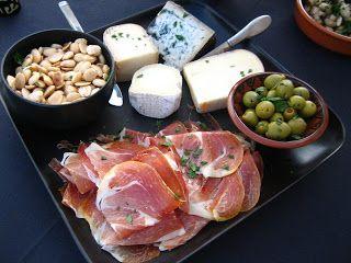 Spanish Tapas - Serrano Ham, Marcona Almonds, Marinated Sevilla Olives, and Assorted Spanish Cheeses (Manchego)