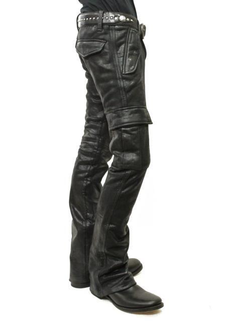Bildergebnis für black leather cargo pants