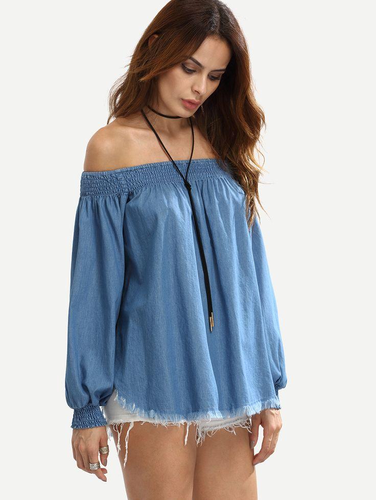 Blusa manga larga de mujer color azul marino de SheIn