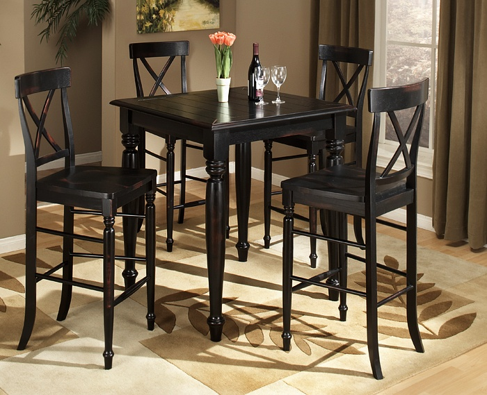 Roanoke Pub Dining  Constructed of premium Asian hardwoods and featured in a black, hand antiqued finish. Completed with a high-quality lacquer top coat.    3-pc. group includes bar table and two bar stools.