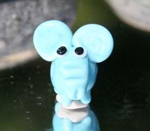 Blue Elephant by LampworkDK on Etsy, $5.00
