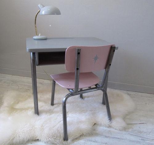 Bureau pour enfant vintage gris et rose