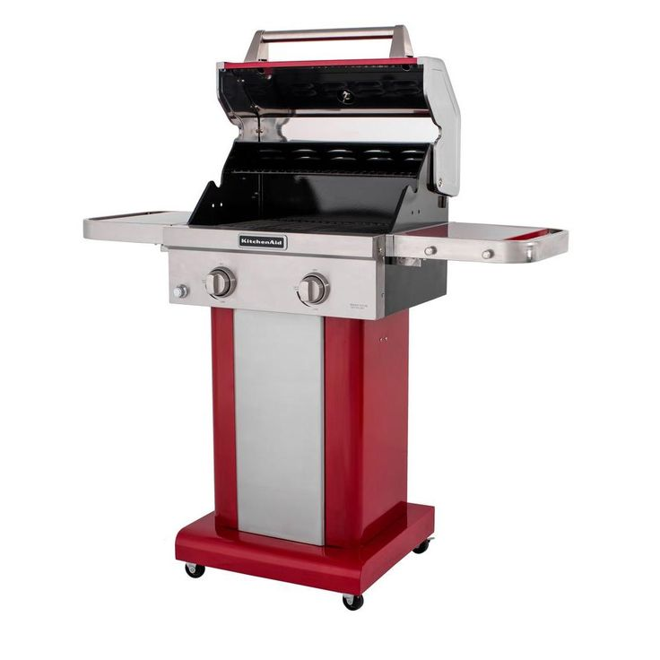 Kitchenaid 2burner propane gas grill in red with grill