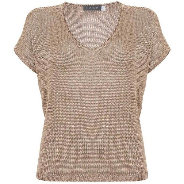 Rose Gold Metallic Slouchy Tee (2.035 CZK) ❤ liked on Polyvore featuring tops, t-shirts, slouchy tops, slouchy tees, brown top, rose top and brown t shirt