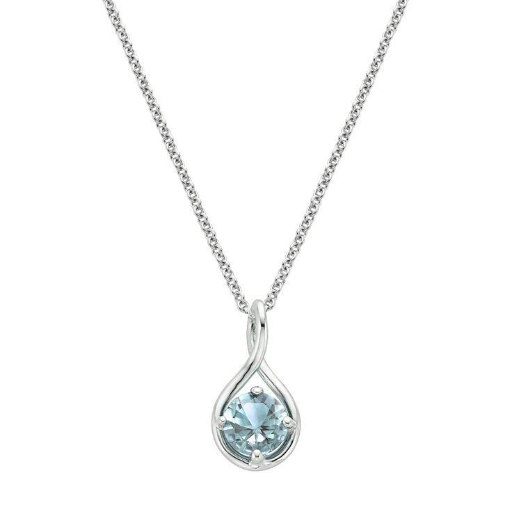 Aquamarin Twist Anhänger – Silber (Einstellungspreis)