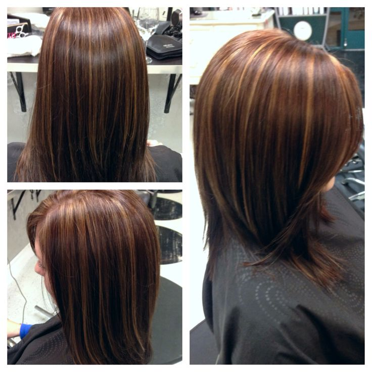 chocolate brown with caramel highlights hair by me