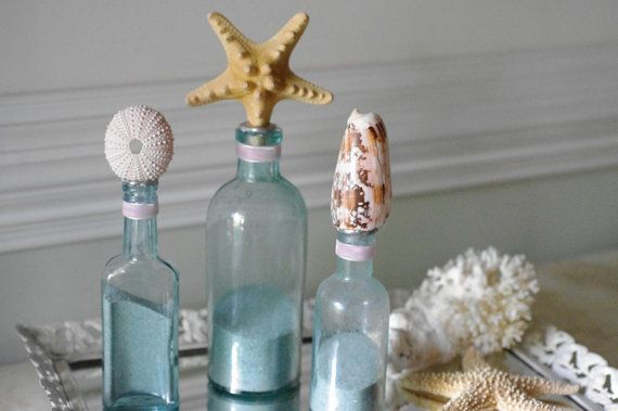 Beach Decor Set of 3 Vintage Aqua Sea Life Bottles with Knobby Starfish, Sea Urchin and Cone Shell  $92