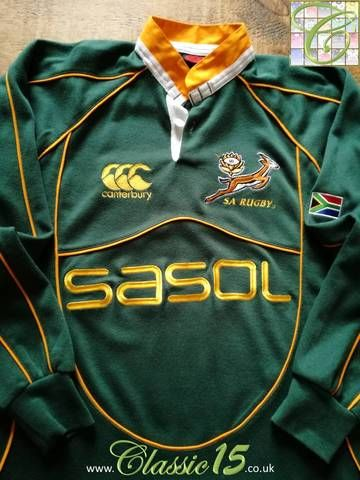 1d5ed352ff7 Official Canterbury South Africa home long sleeve rugby shirt from the 2007/08  international season.