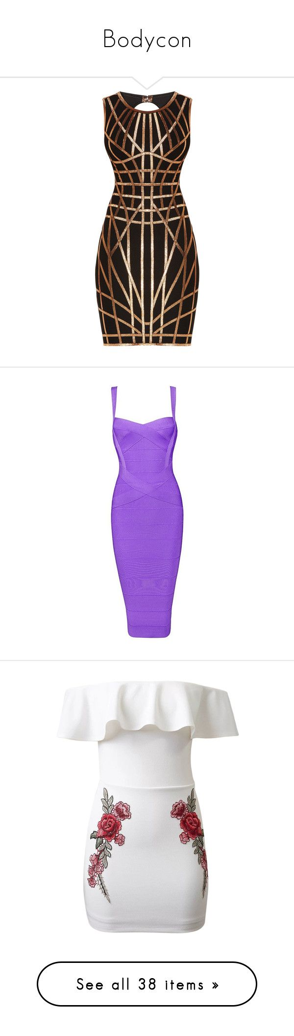 """""""Bodycon"""" by mimzyel on Polyvore featuring dresses, herve leger, caged bodycon dress, metallic cocktail dress, herve leger dress, sleeveless bodycon dress, sleeveless dress, midi party dresses, purple bandage dress and bodycon dress"""