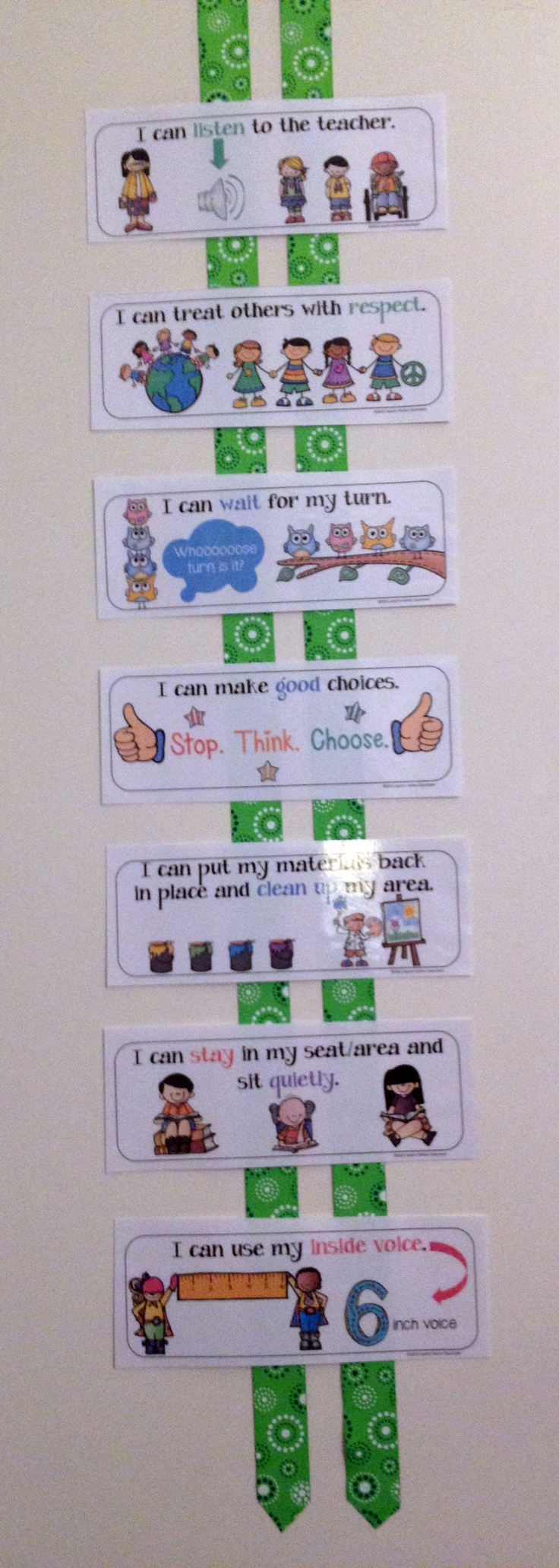 "This resource includes 14 illustrated classroom rules posters written in familiar ""I can..."" style language. The posters are formated so that 2 rules (posters) print per 1 page of paper in landscape format. All you have to do is cut directly down the middle of the page on the dotted line and the resource is ready to use. Formatting allows for easy lamination and can be used in a variety of ways including pocket charts or classroom rules bulletin board displays. $$"