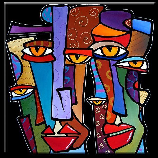 Art: Faces1186 3030 Original Abstract Art Painting Pop Design Stars by Artist Thomas C. Fedro