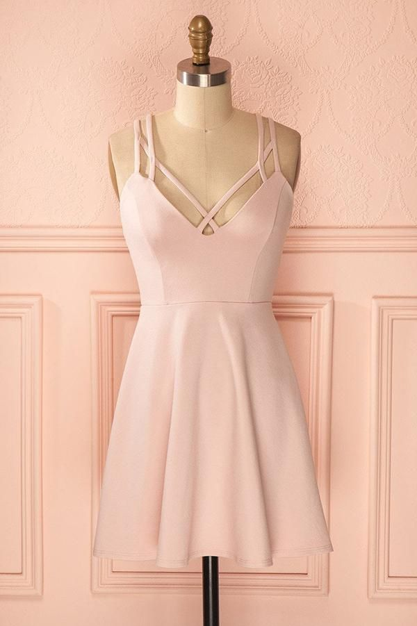 Sexy A-Line Pink Sleeveless Satin Short Homecoming Dress M449 - Ombreprom 20807c521