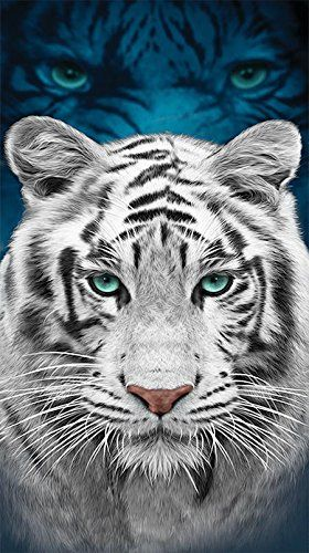 Beach Towel, White Tiger with Blue Eyes, 30x60-inch Tiger Towel