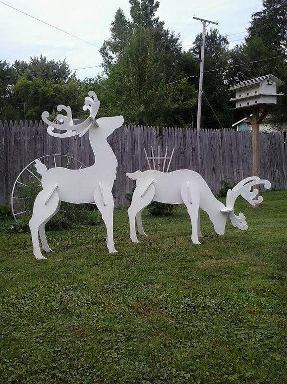 Outdoor White Reindeer Christmas Wood Yard by MikesYardDisplays, $100.00