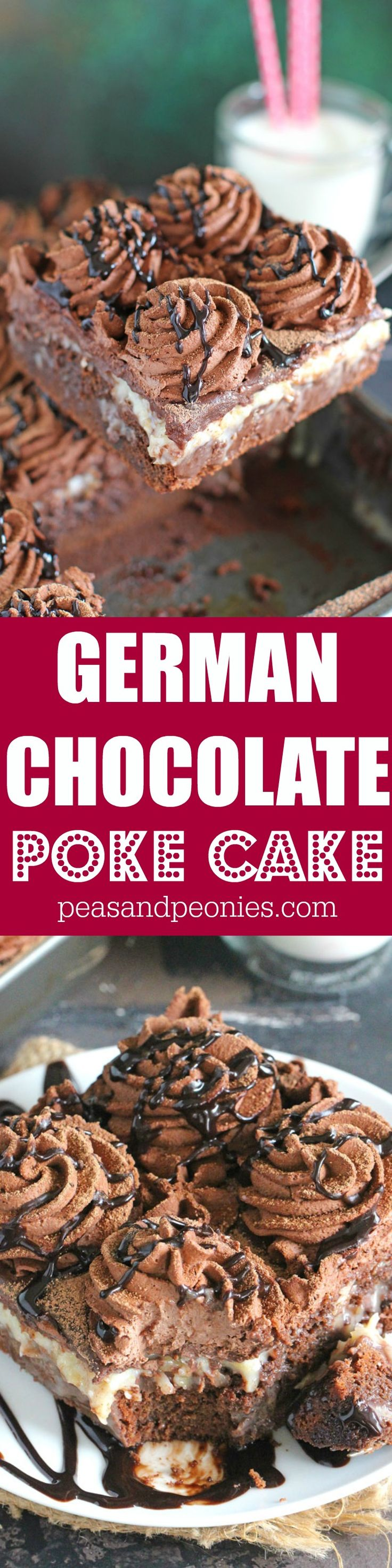 German Chocolate Poke Cake is very easy to make with a super fudgy and tender texture, topped with a sweet coconut mixture and chocolate whipped cream.