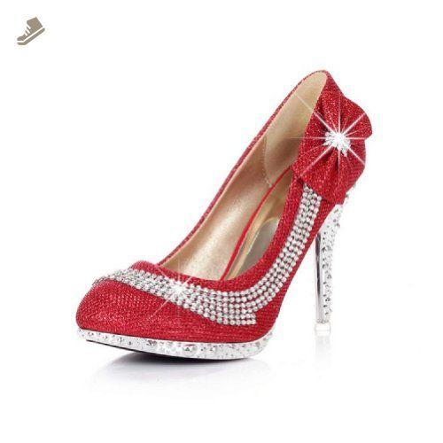 Charm Foot Fashion Bows Womens Platform High Heel Stiletto Mary Jane Pump (5.5, Red) - Charm foot pumps for women (*Amazon Partner-Link)
