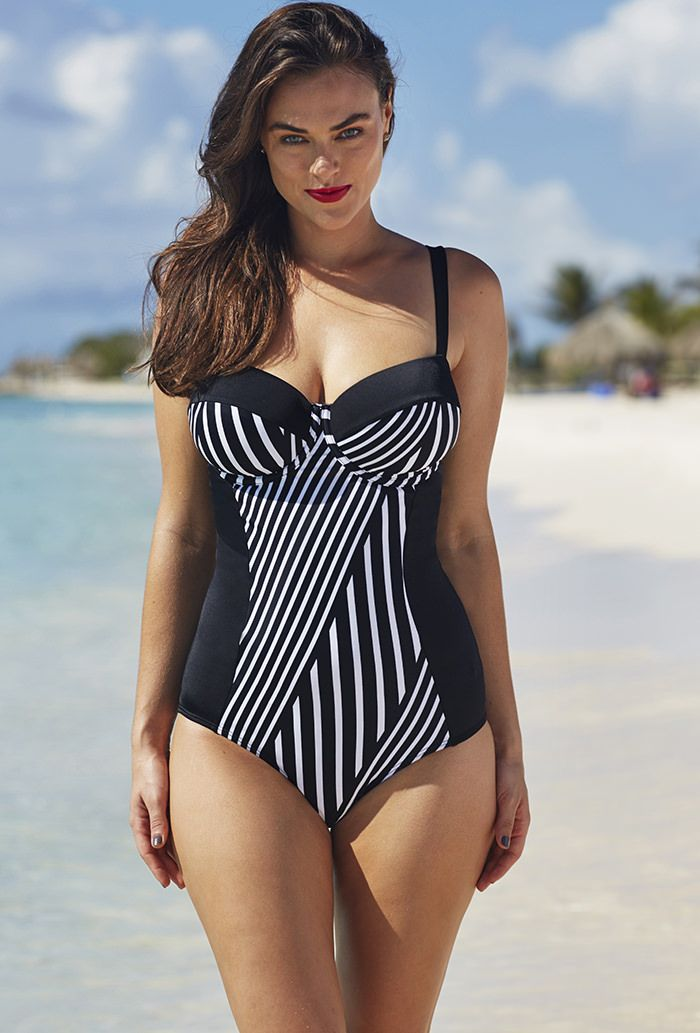 Tropiculture Black and White Striped Colorblock Underwire Swimsuit  love the graphic design