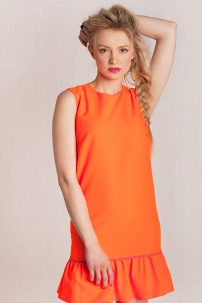 Basia Kurdej - Szatan in Naranja dress by Melismee :) Bright orange and pink Barcelona Vibe Collection