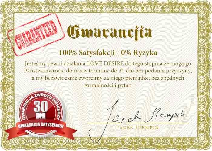 100% zadowolenia albo zwrot pieniędzy. 30 dniowa gwarancja satysfakcji dla produktów z linii Love&Desire