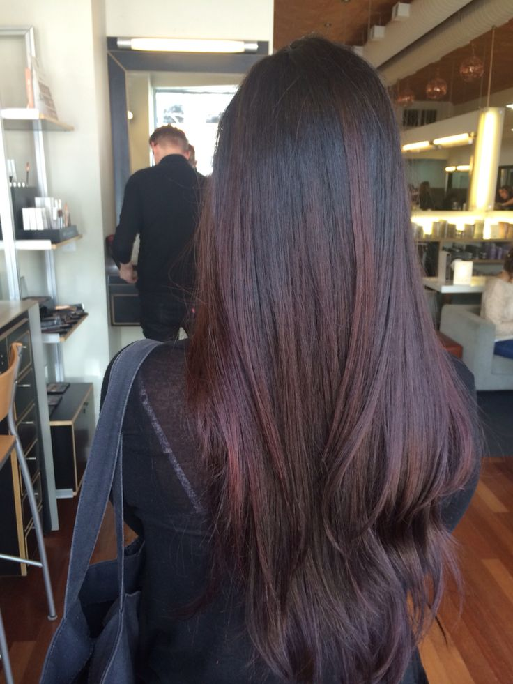 Dark hair with red tint with added layers by Jessica Johnson at Alex Emilio Salon
