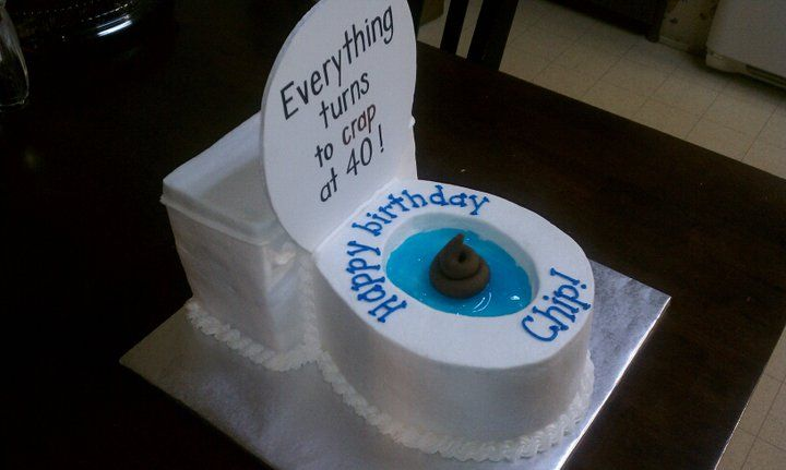 40th birthday toilet cake