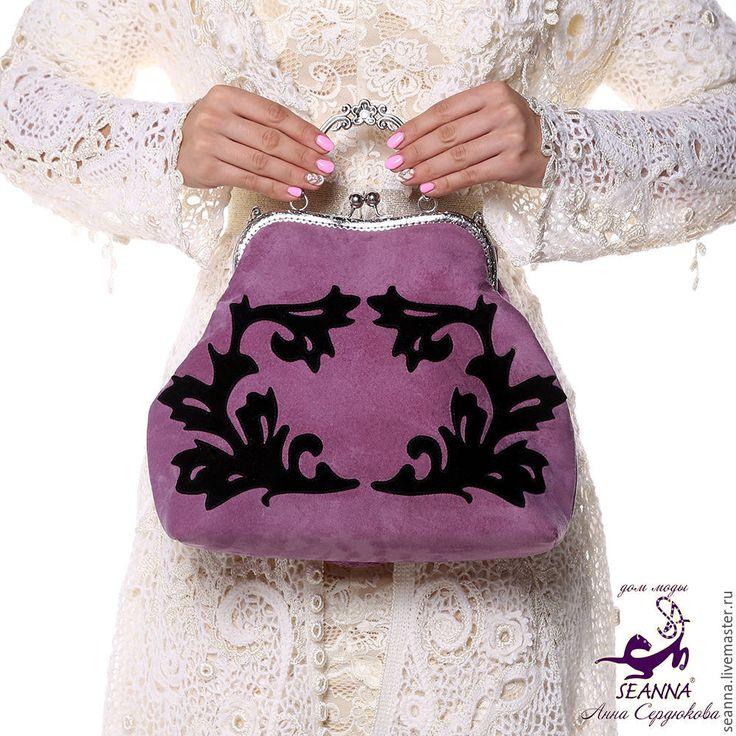 """Купить Эффектная замшевая сумка """"Бархатный Лепесток черный на сирени"""" - сумка, сумочка, сумка женская"""