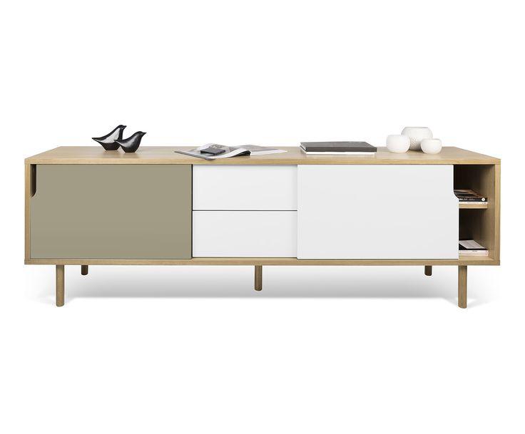 Dressoir Dann, naturel/wit/grijs, L 201 cm | Westwing Home & Living