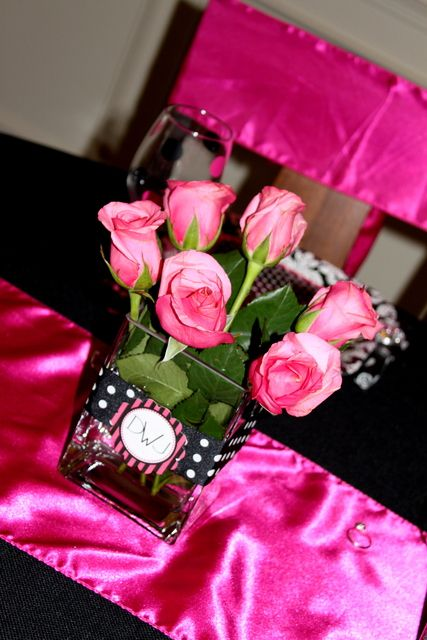 Hot Pink And Black Polka Dots Bridal Wedding Shower Party Ideas Hot Pink Vase And Pink Roses