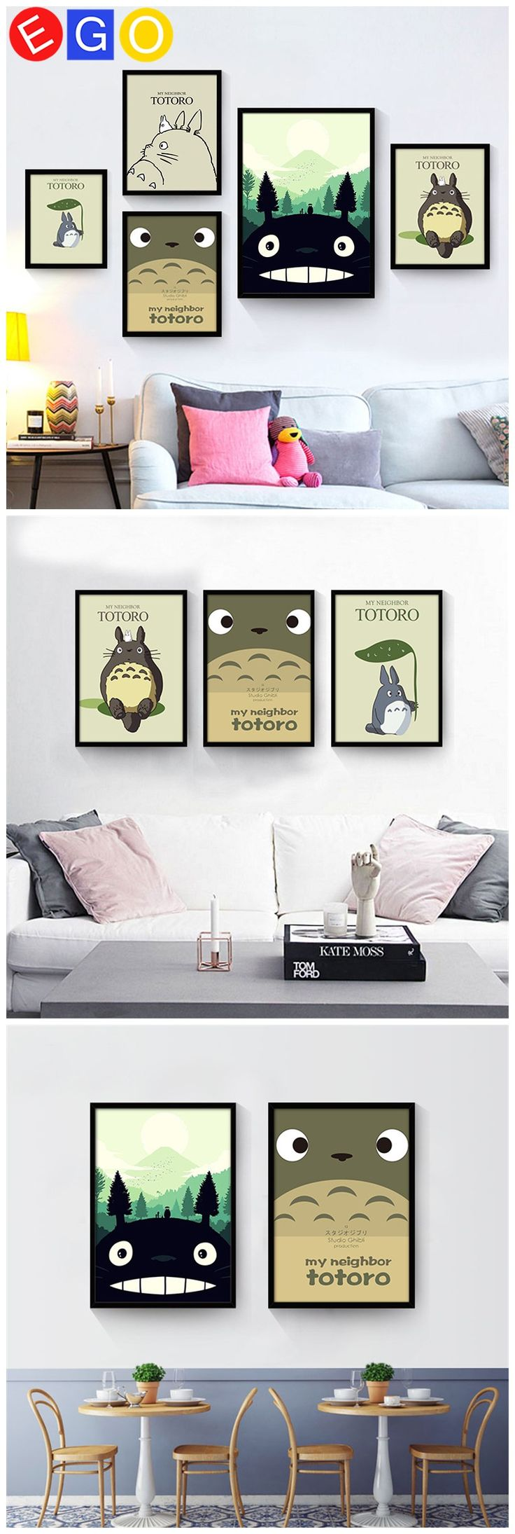 New Simple cartoon Totoro anime Mural decoration oil paintings art canvas wall picture for living room child Porch home decor