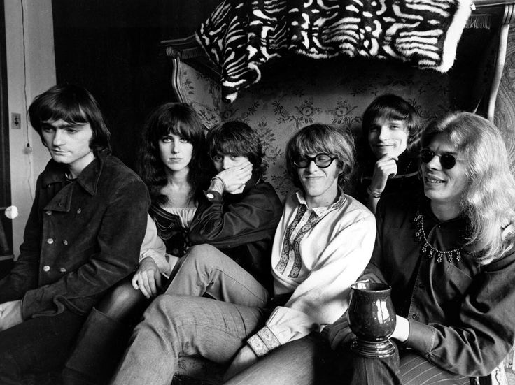"""PAUL KANTNER • (Mar 17, 1941 - Jan 28, 2016), GUITARIST-SINGER-SONGWRITER and third from the right, was a founding member of the Jefferson Airplane. The seminal San Francisco band operated out of an eccentric, Colonial Revival house near Haight-Ashbury and played at both the Monterey and Woodstock festivals, where they performed such classics as """"Somebody to Love"""" and """"White Rabbit."""""""