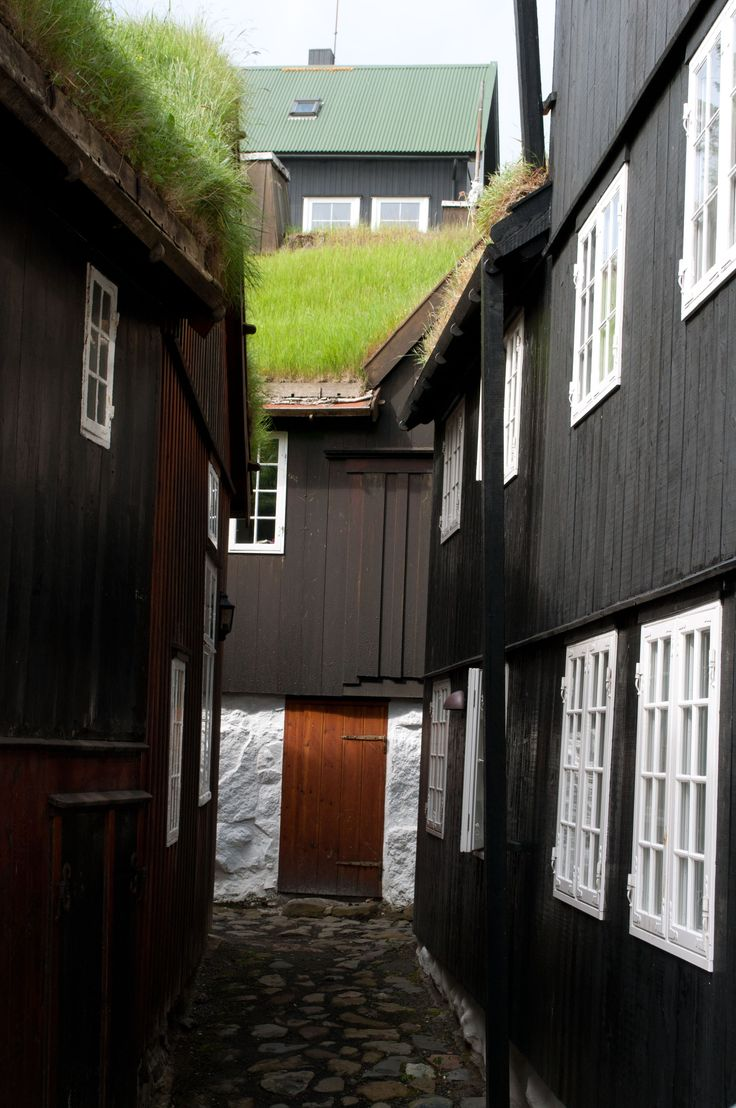 Houses with grass roofs in Torshavn, Faroe Islands. From visit June 2013.