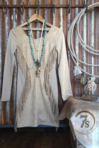 The Nevada – tan faux suede fringe dress from Savannah Sevens Western Chic