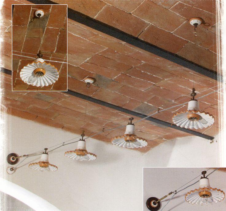Soluzione per illuminare ambienti rustici, illuminazione su cavo che permette di portare la luce in vari punti nella stanza.