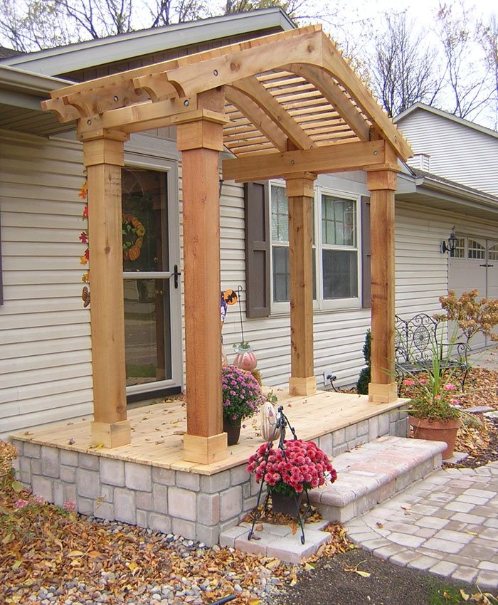 Arbor front porch menasha cedar arbor interior for Front entry decks